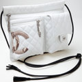 Luxury Accessories:Bags, Heritage Vintage: Chanel White Lambskin Leather and Python CambonMessenger Bag. ...