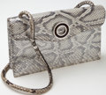 Luxury Accessories:Bags, Heritage Vintage: Loewe Silver Metallic Python Evening ShoulderBag. ...
