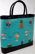Luxury Accessories:Bags, Heritage Vintage: Lulu Guinness Turquoise Canvas Tote. ...