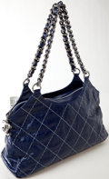 Luxury Accessories:Bags, Heritage Vintage: Chanel Dark Blue Leather Shoulder Bag with ChainStrap and CC Logo Charm. ...