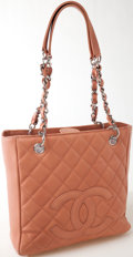 Luxury Accessories:Bags, Heritage Vintage: Chanel Blush Quilted Caviar Leather PST PetiteShopper Tote Bag. ...