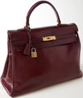 Luxury Accessories:Bags, Heritage Vintage: Hermes 35 cm Rouge Calf Box Leather Kelly Bagwith Gold Hardware. ...