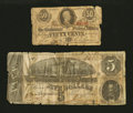Confederate Notes:1863 Issues, T63 50 Cents 1863. T69 $5 1864.. ... (Total: 2 notes)