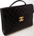 Luxury Accessories:Bags, Heritage Vintage: Chanel Black Quilted Lambskin Leather LaptopCase. ...