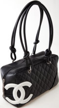 Luxury Accessories:Bags, Heritage Vintage: Chanel Black Lambskin Leather Cambon Bowler ToteBag. ...