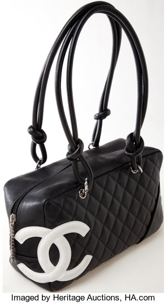 655bbb2a966f Luxury Accessories:Bags, Heritage Vintage: Chanel Black Lambskin Leather  Cambon Bowler ToteBag.