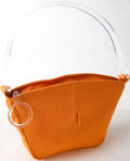 Luxury Accessories:Bags, Heritage Vintage: Lulu Guinness Orange Canvas Bag with LuciteHandle. ...