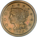 Proof Large Cents, 1855 1C Slanted 55 PR64 Brown PCGS. N-10, R.5 as a proof....