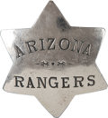 Western Expansion:Cowboy, The Old West: I.D.'d Arizona Rangers Badge....