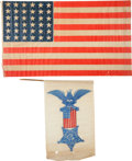 Miscellaneous:Ephemera, Flags: Civil War Era Flag and G.A.R. Banner....