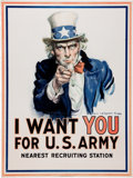 "Advertising:Paper Items, ""I Want You for U.S. Army"" World War I Uncle Sam Patriotic Posterby James Montgomery Flagg, 1917...."