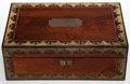 Decorative Arts, British:Other , AN ENGLISH MAHOGANY AND BRASS WRITING BOX . 19th century . 5-1/2inches high x 15 inches long x 9-3/4 inches wide (14.0 x 38...