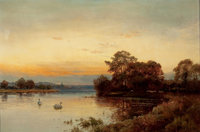 ALFRED DE BREANSKI (British, 1852-1928) At Wallingford on the Thames Oil on canvas 21-1/4 x 31-1/