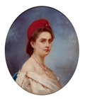 Fine Art - Painting, American, CONSTANT MAYER (American/French, 1832-1911). Woman in a RedLiberty Cap, 1863. Oil on canvas. 12 x 10 inches (30.5 x 25....