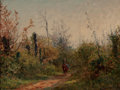 Fine Art - Painting, European, EUGENE DECAN (French, 1829-1894). Riding Through the Glade.Oil on board. 11 x 14 inches (27.9 x 35.6 cm). Signed lower ...