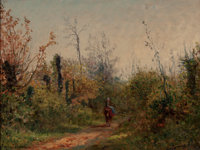 EUGENE DECAN (French, 1829-1894) Riding Through the Glade Oil on board 11 x 14 inches (27.9 x 35