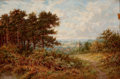 Fine Art - Painting, European, BENJAMIN WILLIAMS LEADER (British, 1831-1923). Landscape with Glimpse of a Village. Oil on canvas. 18 x 23 inches (45.7 ...