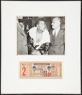 Boxing Collectibles:Memorabilia, 1946 Joe Louis and Billy Conn Full Ticket Photograph Display....