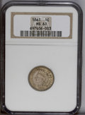 Indian Cents: , 1861 1C MS61 NGC. NGC Census: (18/557). PCGS Population (15/737).Mintage: 10,100,000. Numismedia Wsl. Price: $158. (#2061)...