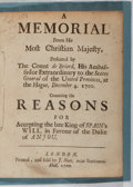 Books:World History, Louis XIV. A Memorial from His Most Christian Majesty. J. Nutt, 1700. Second edition. 16 pages. Held with modern...
