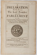 Books:World History, [Oliver Cromwell]. A Declaration of His Highnes the LordProtector and the Parliament. Hills and Field, 1656. [2], 5...