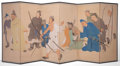 Asian:Japanese, A JAPANESE SIX PANEL FOLDING SCREEN . Meiji Period . Marks: (signedand stamped) . 69 inches high x 157-1/2 inches wide (175...