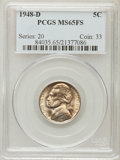 Jefferson Nickels: , 1948-D 5C MS65 Full Steps PCGS. PCGS Population (301/190). NGCCensus: (38/36). Numismedia Wsl. Price for problem free NGC...