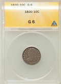 Bust Dimes: , 1830 10C Medium 10C Good 6 ANACS. NGC Census: (1/175). PCGSPopulation (7/215). Mintage: 510,000. Numismedia Wsl. Price for...