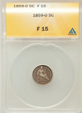 Seated Half Dimes: , 1859-O H10C Fine 15 ANACS. NGC Census: (0/100). PCGS Population(1/105). Mintage: 560,000. Numismedia Wsl. Price for proble...