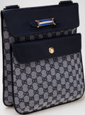 Luxury Accessories:Bags, Heritage Vintage: Gucci Blue Monogram Canvas and Leather Bag. ...