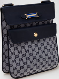 Heritage Vintage: Gucci Blue Monogram Canvas and Leather Bag
