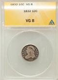 Bust Dimes: , 1832 10C VG8 ANACS. NGC Census: (3/276). PCGS Population (6/325).Mintage: 522,500. Numismedia Wsl. Price for problem free ...