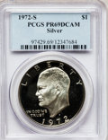 Proof Eisenhower Dollars: , 1972-S $1 Silver PR69 Deep Cameo PCGS. PCGS Population (14498/33).NGC Census: (757/0). Numismedia Wsl. Price for problem ...