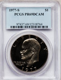 Proof Eisenhower Dollars: , 1977-S $1 PR69 Deep Cameo PCGS. PCGS Population (13344/13). NGCCensus: (672/0). Numismedia Wsl. Price for problem free NG...