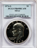 Proof Eisenhower Dollars: , 1974-S $1 Silver PR69 Deep Cameo PCGS. PCGS Population (12258/10).NGC Census: (750/0). Numismedia Wsl. Price for problem ...