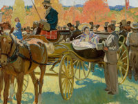 HAROLD VON SCHMIDT (American, 1893-1982) Stage Coach Scene, The Saturday Evening Post story illustration