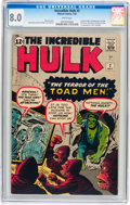 Silver Age (1956-1969):Superhero, The Incredible Hulk #2 (Marvel, 1962) CGC VF 8.0 White pages....