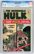 Silver Age (1956-1969):Superhero, The Incredible Hulk #4 (Marvel, 1962) CGC NM- 9.2 Off-white towhite pages....