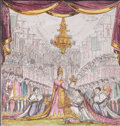 Prints, STATE CEREMONY, ROYAL CORONATION SCENE. 19th century. Colorengraving signed with two signatures. 17-3/4 x 16-1/2 inches...