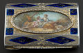 Silver Smalls:Other , A CONTINENTAL ENAMELED SILVER, SILVER GILT AND IVORY SNUFF BOX .Maker unknown, circa 1900. Unmarked. 2-7/8 inches long (7.4...