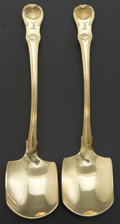 Silver Flatware, British:Flatware, A PAIR OF MARY SUMMER GEORGE III SILVER GILT SERVING SHOVELS . MarySummer, London, England, circa 1808-1809. Marks: (lion p... (Total:2 Items)