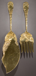 Silver Flatware, American:Durgin, A DURGIN SILVER GILT CHRYSANTHEMUM PATTERN FISH SERVING SET. Wm. B. Durgin Co., Concord, New Hampshire, circa ... (Total: 2Items)