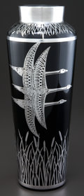 Art Glass:Other , A ROCKWELL GLASS VASE WITH SILVER OVERLAY . Rockwell Silver Co.,Meriden, Connecticut, circa 1930. Marks: (shield) ROCKWEL...