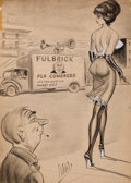 Pin-up and Glamour Art, BILL WARD (American, 1919-1998). Fulbrick for Congress, cartoonillustration. Charcoal on paper. 23 x 16.5 in.. Signed l...