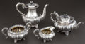 Silver Holloware, British:Holloware, A J & J ANGELL WILLIAM IV SILVER TEA SERVICE WITH ASSOCIATEDCOFFEE POT. Joseph & John Angell, London, England, circa1831-1... (Total: 4 Items)