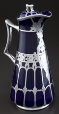 Ceramics & Porcelain, AN AMERICAN PORCELAIN CHOCOLATE POT WITH SILVER OVERLAY . Attributed to Lenox China Corporation, Trenton, New Jersey, circa ...