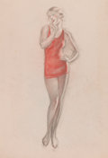 Pin-up and Glamour Art, CHARLES GATES SHELDON (American, 1889-1960). Study of a Lady inRed. Pastel and charcoal pencil on paper. 24.75 x 19 in....