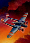 Pulp, Pulp-like, Digests, and Paperback Art, FRANK XAVIER THEBAN TINSLEY (American, 1899-1965). Death Ridesthe Sky, Air Trails pulp cover, April 1937. Oil on canvas...