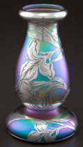 Art Glass:Other, A QUEZAL GLASS VASE WITH ALVIN SILVER OVERLAY . Quezal, Queens, NewYork, circa 1900. Silver by Alvin Corporation, Providenc...