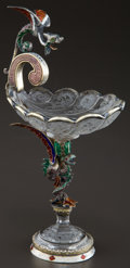 Silver Holloware, Continental:Holloware, A VIENNESE SILVER GILT, ENAMEL AND ROCK CRYSTAL COUPE WITH FIGURALSTEM . Maker unknown, Vienna, Austria, circa 1870-1880. U...